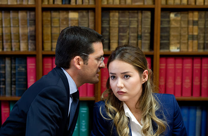 Lawyer Peter Sahlas with Ablyazov's daughter Madina at a press conference in Paris in 2015