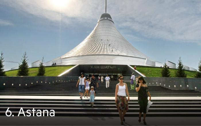 The Khan Shatyr Entertainment Center in Astana, the capital city of Kazakhstan