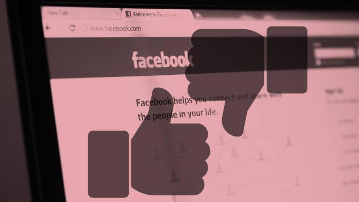FT Montage. Close up of Facebook social network website