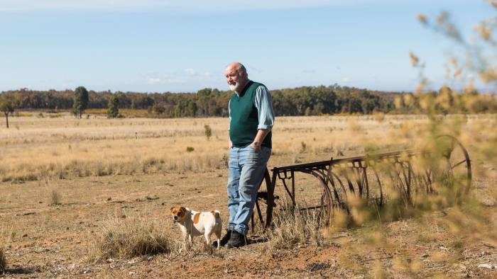 Peter Shinton on his 500-acre farm near the New South Wales town of Coonabarabran Australia photographed by Graham Jepson/FT