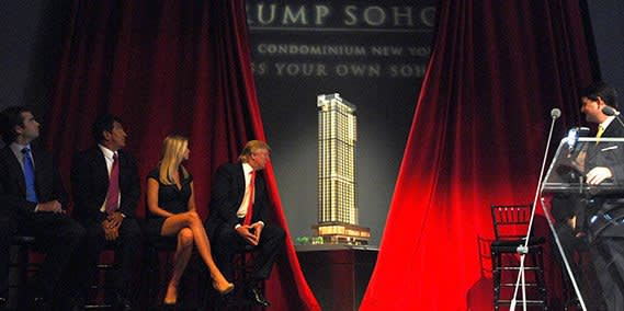 UNITED STATES - SEPTEMBER 19:  The Trump family watches as the Trump Soho Hotel Condominium is unveiled during a news conference in New York, U.S., on Wednesday, Sept. 19, 2007. The Trump Soho Hotel Condominium is under construction at 246 Spring Street.  (Photo by Jennifer Altman/Bloomberg via Getty Images)