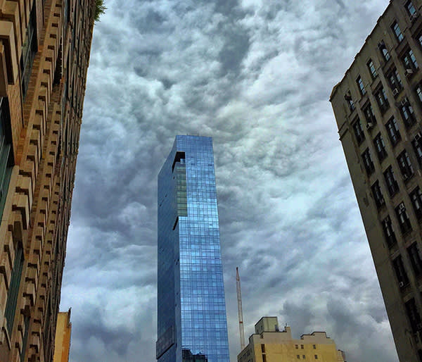 Clouds swirl above a Trump building in SoHo in New York City.