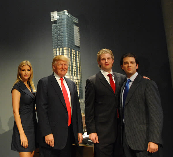 Donald Trump with sons after his announcement of a new Trump SoHo Hotel Condominium on Spring Street as Ivanka and Donald look on in Manhattan, NY. 9/19//2007 Photo by Jennifer S. Altman