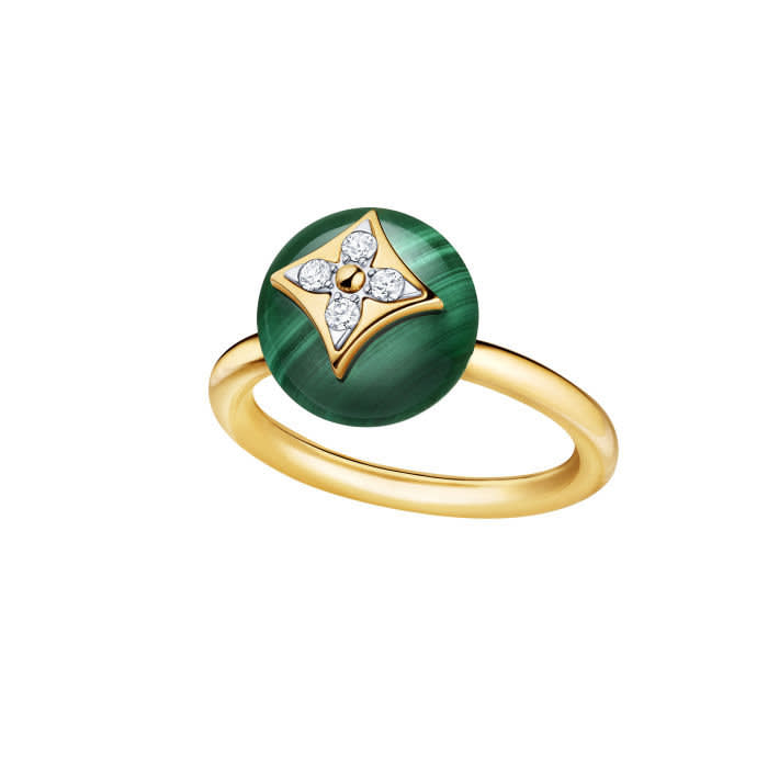 B Blossom ring — Yellow and white gold, malachite and diamonds, €2,950