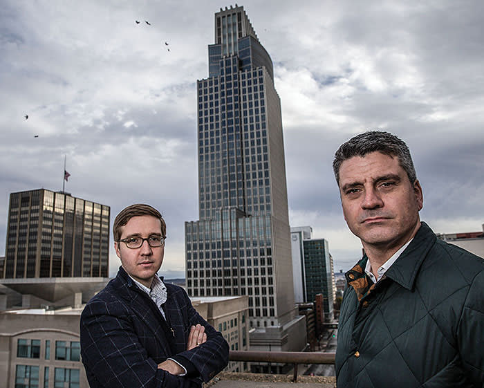 Howard Warren Buffett, left, the grandson of Warren Buffett, and Trevor Neilson, who co-founded i(x) Investments, in Omaha, Neb., Nov. 17, 2015. Hoping to build on his family?s legacy, Buffett plans to put capital to work in ways he hopes will improve the world. (Brian Lehmann/The New York Times) / Redux / eyevine Please agree fees before use. SPECIAL RATES MAY APPLY. For further information please contact eyevine tel: +44 (0) 20 8709 8709 e-mail: info@eyevine.com www.eyevine.com