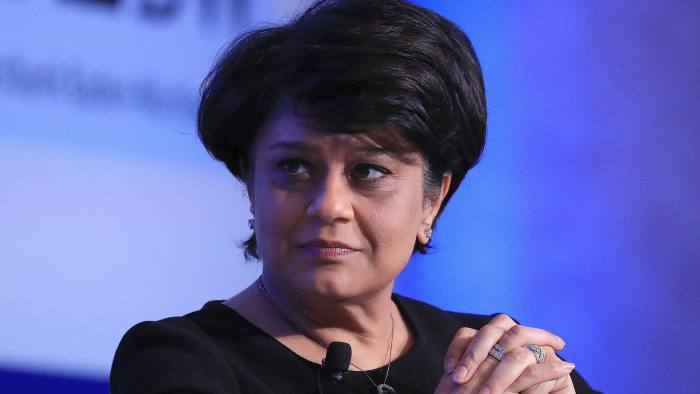 Shriti Vadera, chairman of Santander UK Plc, looks on during the Institute of International Finance G-20 Conference in Frankfurt, Germany, on Thursday, March 16, 2017. Some of the top financial services companies, including BlackRock Inc. and UBS Group AG, warned against rolling back financial regulation at this time, saying it could be risky and distort international competition. Photographer: Krisztian Bocsi/Bloomberg