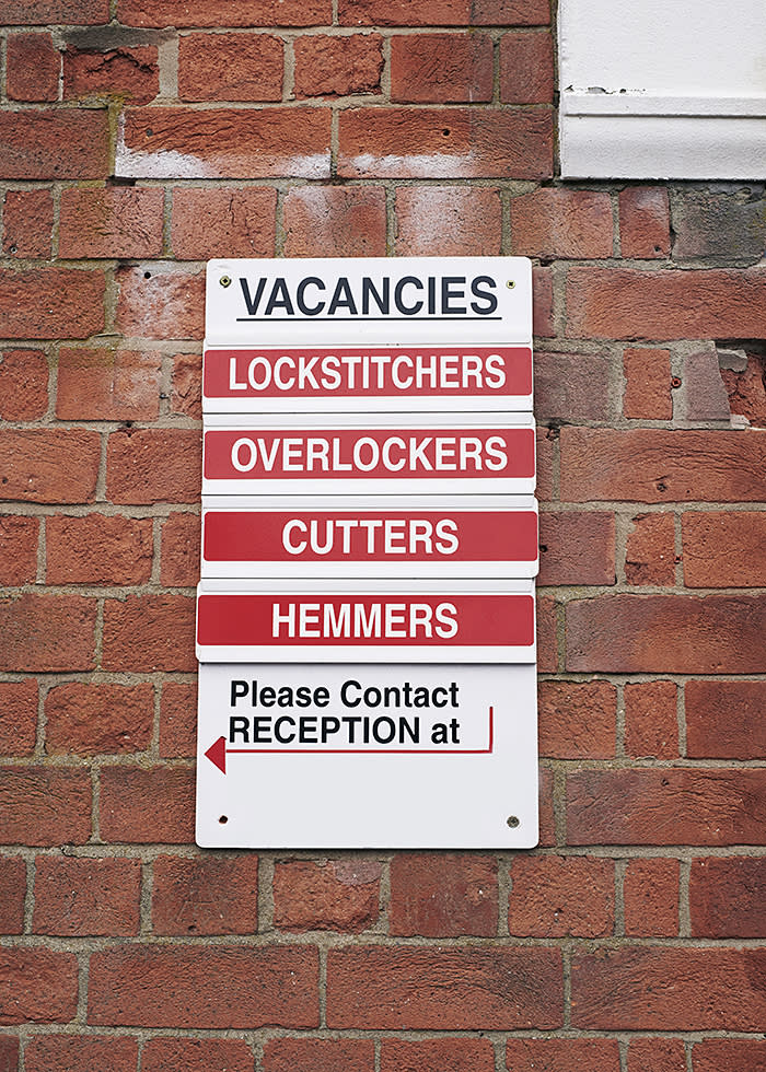 One of the many vacancy signs in Leicester's garment district