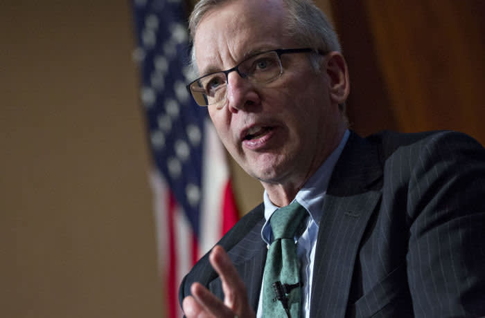 William Dudley, president and chief executive officer of the Federal Reserve Bank of New York, speaks during a discussion at the U.S. Chamber of Commerce in Washington, D.C., U.S., on Monday, March 26, 2018. Dudley said Wall Street should force banks to share the pain of regulatory penalties by docking executives' pay, a move that would help discourage bad behavior. Photographer: Andrew Harrer/Bloomberg