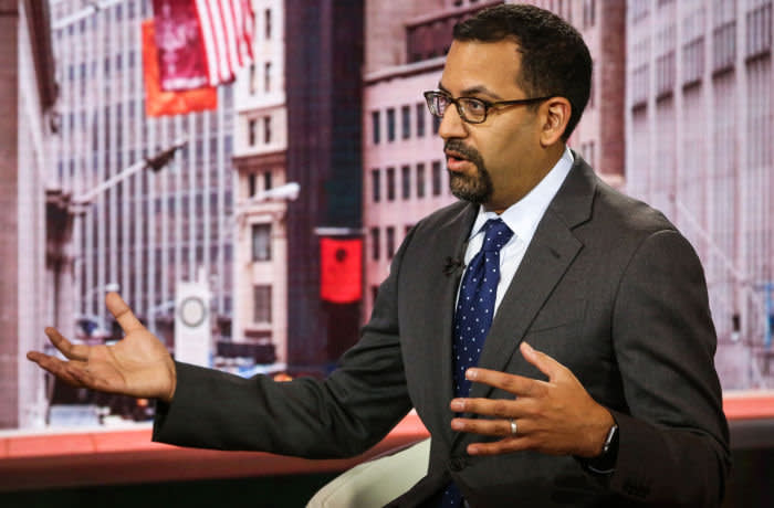 """Ashish Shah, chief investment officer of global credit at AllianceBernstein Holding LP, speaks during a Bloomberg Television interview in New York, U.S., on Tuesday, Jan. 24, 2017. """"When you think about bonds, everyone's afraid of rising rates. But the reality is that if rates rise slowly, you're still going to earn a very good return in the bond space,"""" Shah said. Photographer: Christopher Goodney/Bloomberg"""