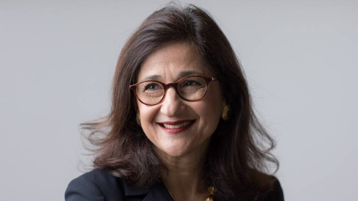 """Nemat """"Minouche"""" Shafik, incoming director of the London School of Economics (LSE), poses for a photograph following a Bloomberg Television interview in London, U.K., on Thursday, Nov. 30, 2017. Shafikleft her position as a deputy governor of the Bank of England to take charge of the LSE this year. Photographer: Jason Alden/Bloomberg"""