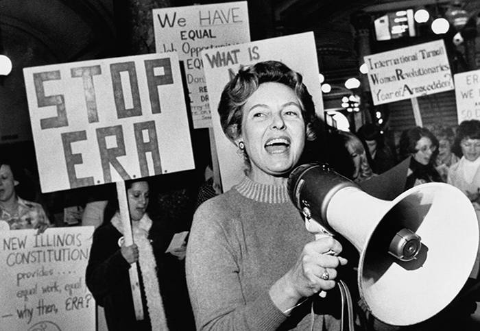 The real-life Phyllis Schlafly campaigning against the ratification of the ERA in the 1970s