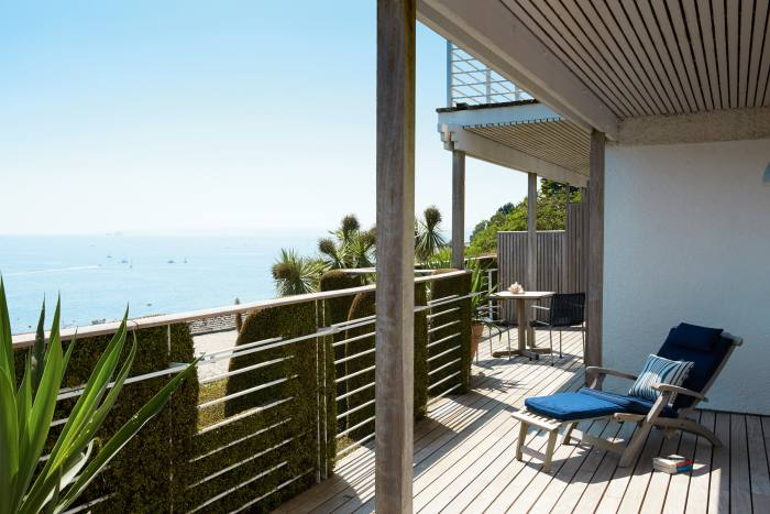 A terrace of one of the Family Suites, Hotel Tresanton, Cornwall