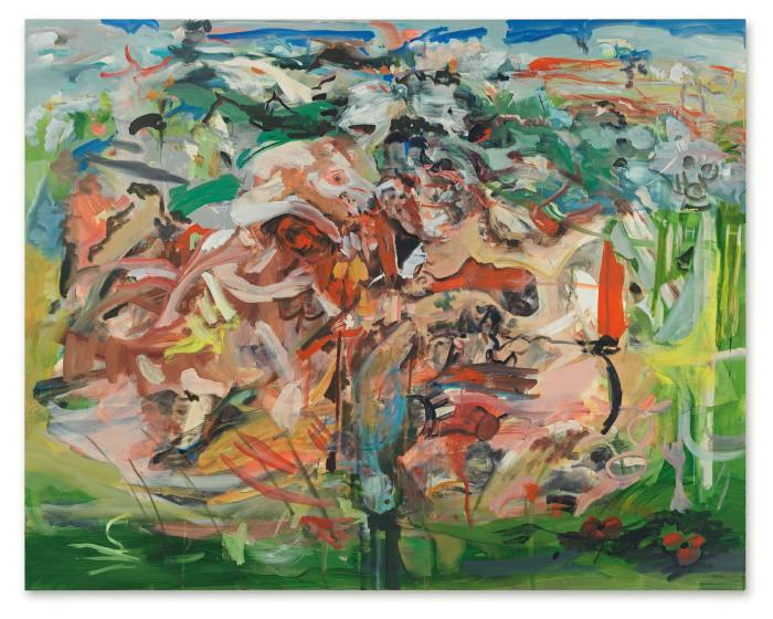 An abstract painting with many bright thin overlapping brushstrokes against a greenish ground