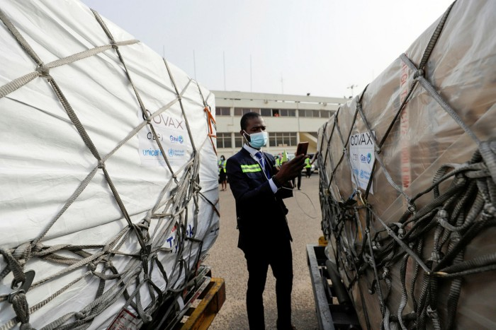 Boxes of the Oxford/ AstraZeneca Covid vaccine arrive at Accra airport, Ghana