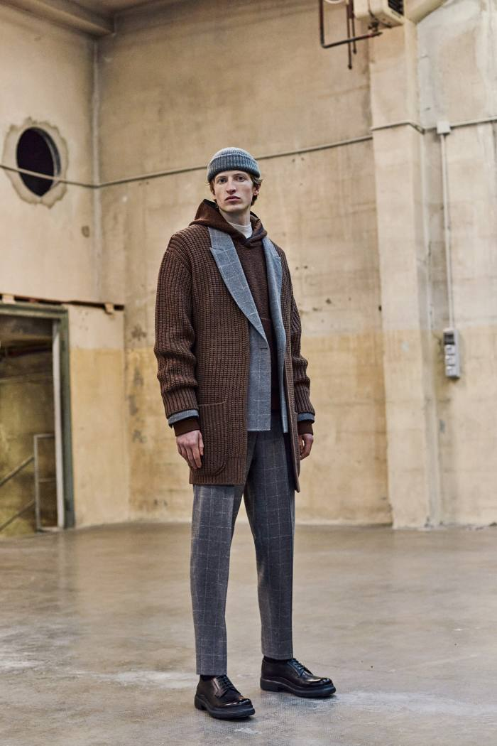 Z Zegna wool-blend suit, wool cardigan, cotton-blend hoodie and brushed-cotton turtleneck, all POA