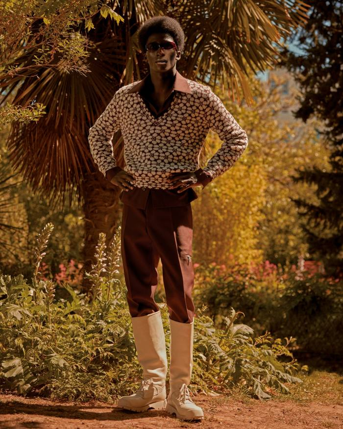 Prada wool jumper, £750. Jil Sander by Lucie and Luke Meier cotton shirt, £640, wool trousers, £690, and leather boots, £950. Port Tanger acetate Crepuscolo sunglasses, £230