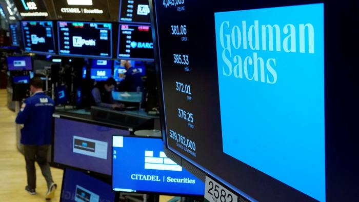 Goldman Sachs logo at a trading post on the floor of the New York Stock Exchange