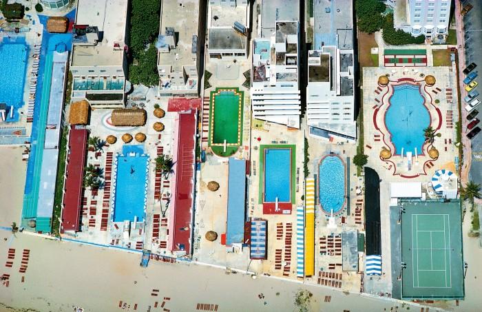 Swimming pools off Miami Beach, Florida