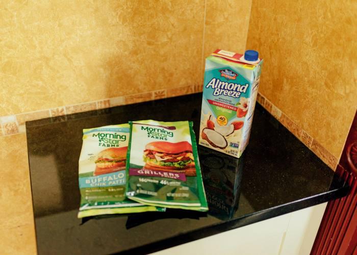 MorningStar Farms vegetarian burgers and almond milk – always in Dan's fridge