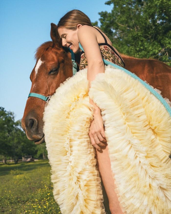 Dior chenillejacquard bandeau bra,£1,050. Molly Goddard frill tulle skirt,£3,000