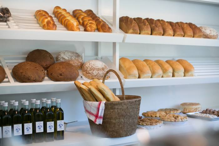 Freshly baked bread on the shelves of Loaves & Fishes
