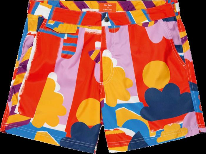 Sunspel x John Booth Sun & Clouds Upcycled swim shorts, £145