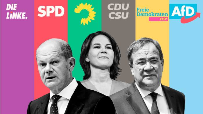 Logos of leading political parties plus images of Olaf Scholz, Annalena Baerbock and Armin Laschet