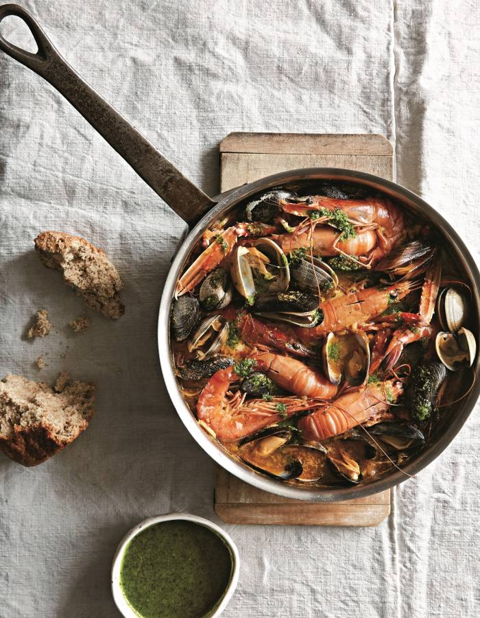 Shellfish stew with parsley oil, from Fish and Seafood To Share