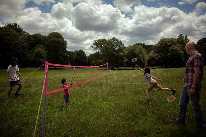 Family badminton at Prospect Park, July 4