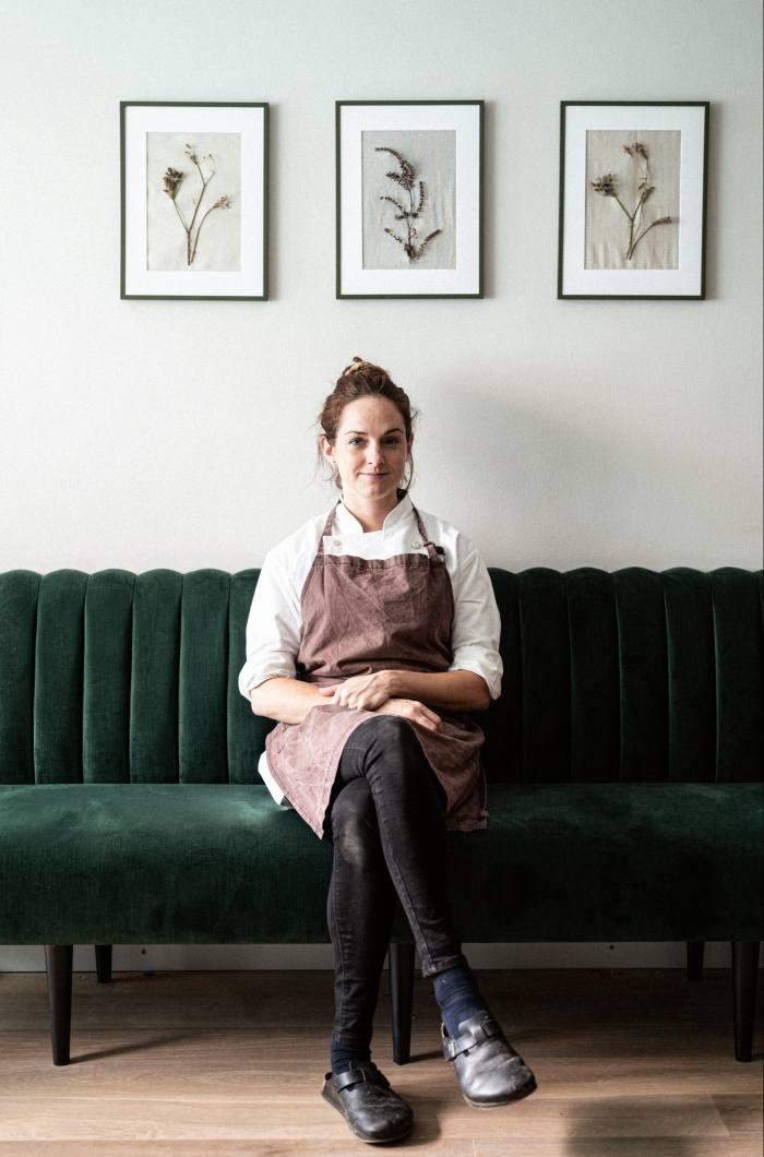 Harriet Mansell in the restaurant