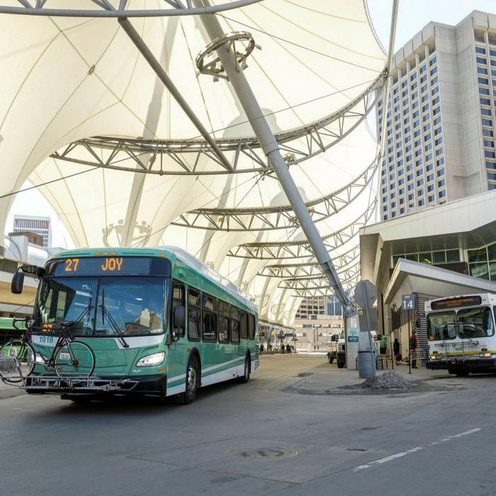 The Rosa Parks Transit Center, Detroit's main transport hub, in 2021