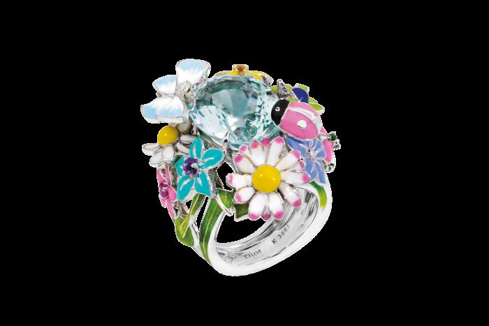 Dior Joaillerie diamond,aquamarine, amethyst, sapphire,garnet and lacquer Diorette ring, £15,200