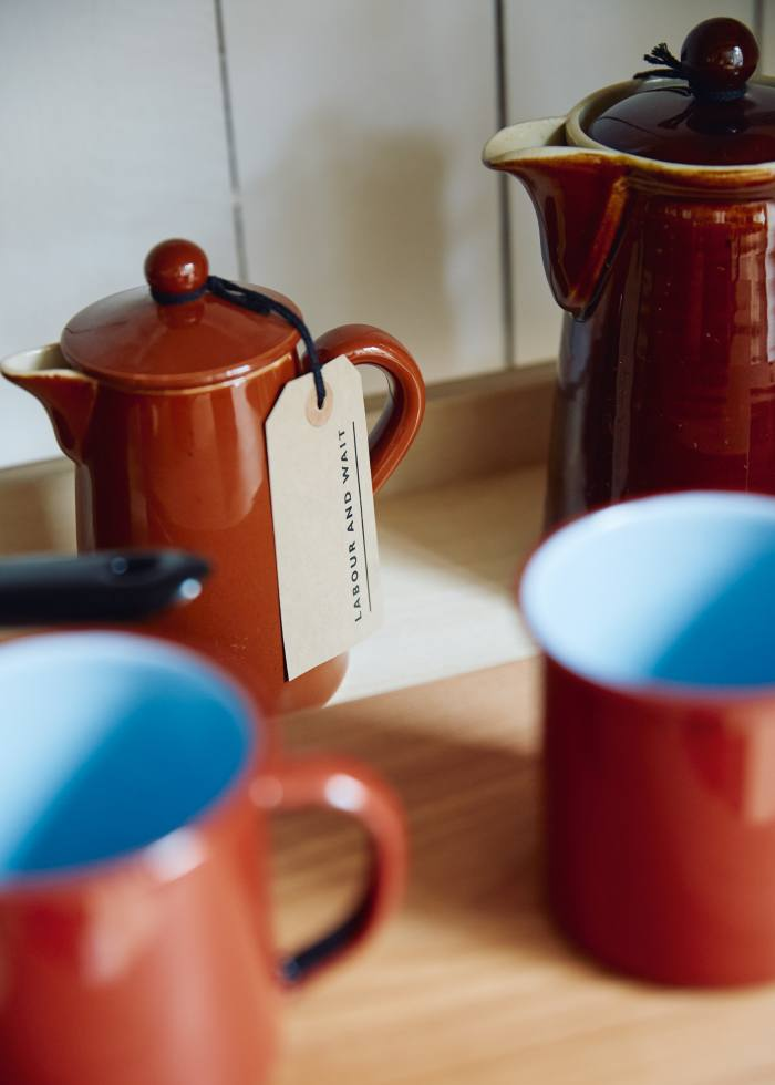 Vintage coffee pots, from £18, and spanish enamel mugs, £8 each