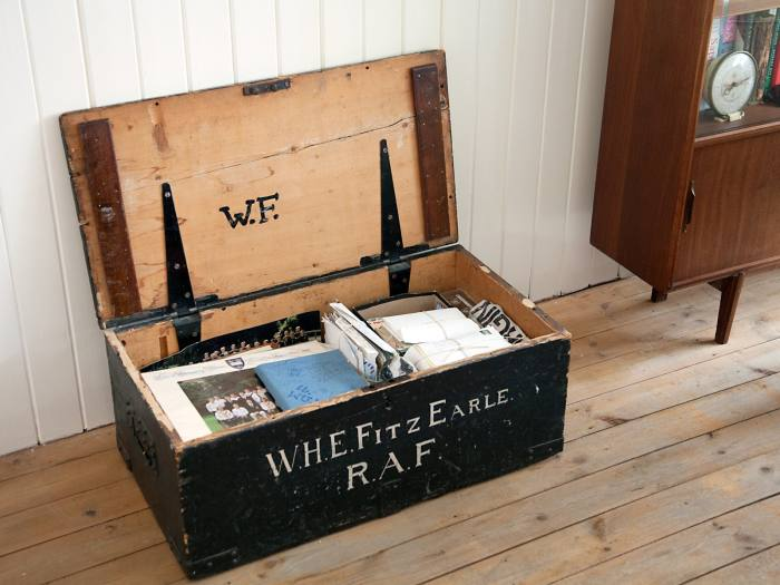 Grant's wardrobe trunk, handed down to him from his great-grandfather and grandfather