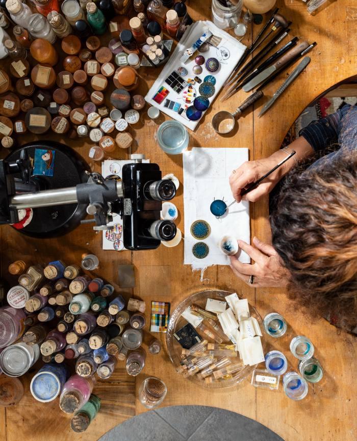 Anita Porchet at work in her studio near Geneva