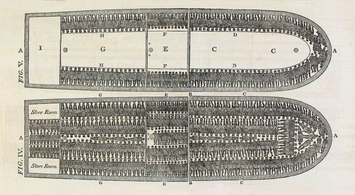 Plan of the slave ship Brookes designed to show the suffering of African slaves transported in the Middle Passage during the transatlantic slave trade