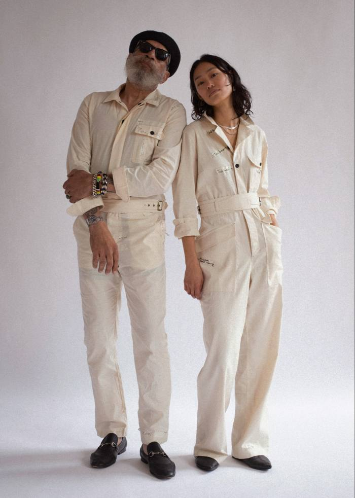 Molly Bloom cotton herringbone twill Frances (left) and Bloomiejumpsuits, both $495