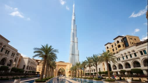 Downtown Dubai with Burj Khalifa in the background, the tallest building in the world
