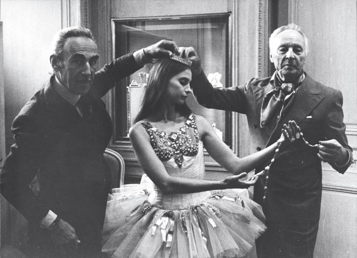 Pierre Arpels (left) with George Balanchine and ballerina Suzanne Farrell, c1976