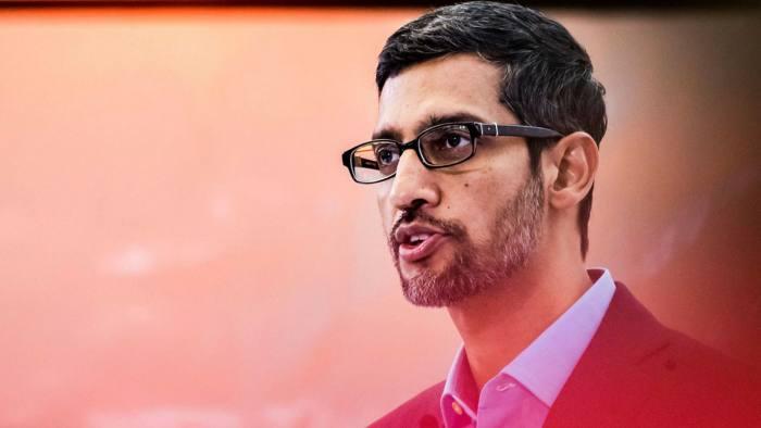Sundar Pichai, CEO of Alphabet, delivering a speech on AI in 2020