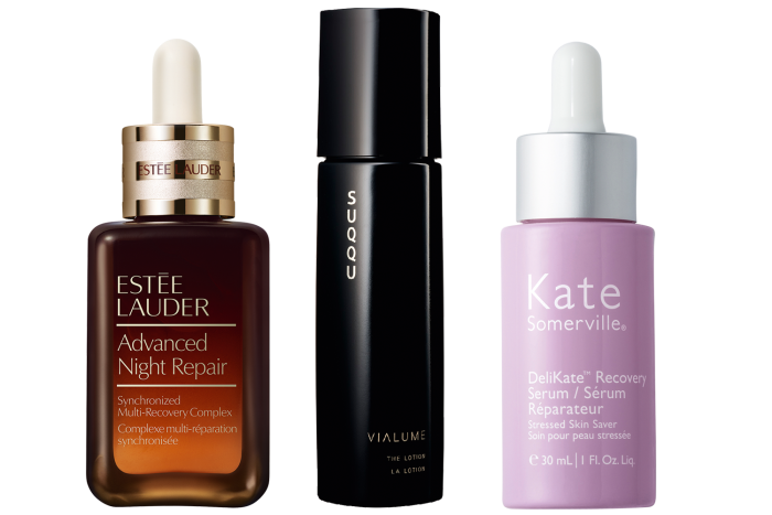 Estée LauderAdvanced Night Repair, £82 for 50ml. Suqqu Vialume The Serum, £150 for 50ml. Kate Somerville DeliKate Recovery Serum, £70 for30ml