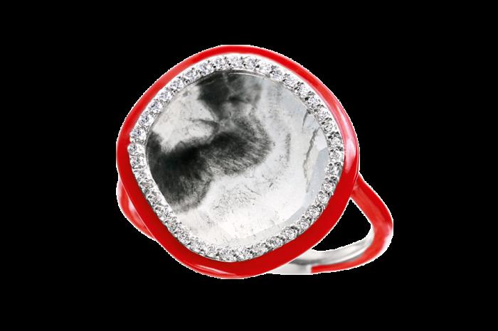 Nina Runsdorf enamel and diamond GreySlice ring, $6,500