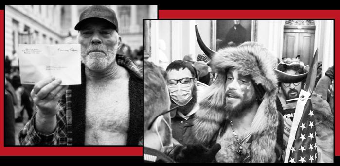 Richard 'Bigo' Barnett, who raided Nancy Pelosi's office, and Jake Angeli, A QAnon devotee who dresses in fur and horns