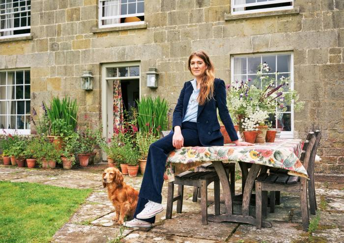 Soames and her dog, Humbug, at home in Wiltshire