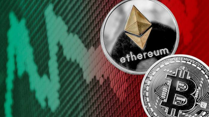 Montage of bitcoin and ethereum logos