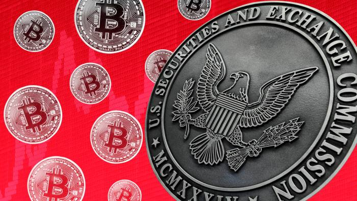 Montage of bitcoins and SEC logo
