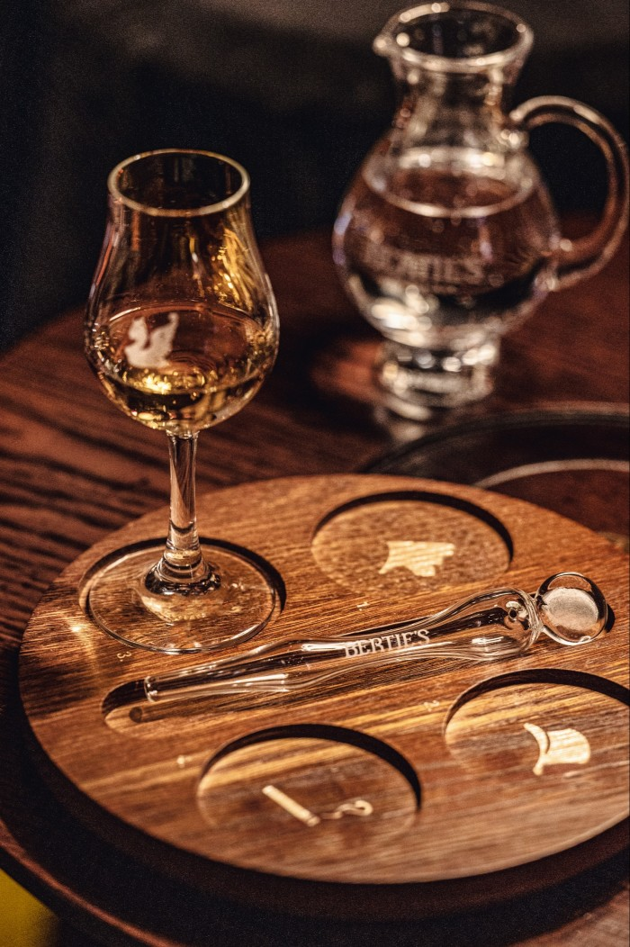 The bar features whiskies from around the world, as well as rarities