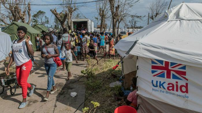 UK aid tents providing shelter for the people of Mozambique after Cyclone Idai hit in 2019