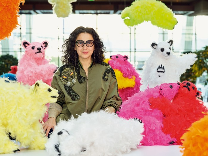 Pivi with bears from her We Are The Baby Gang installation at Aria Resort & Casino, Las Vegas