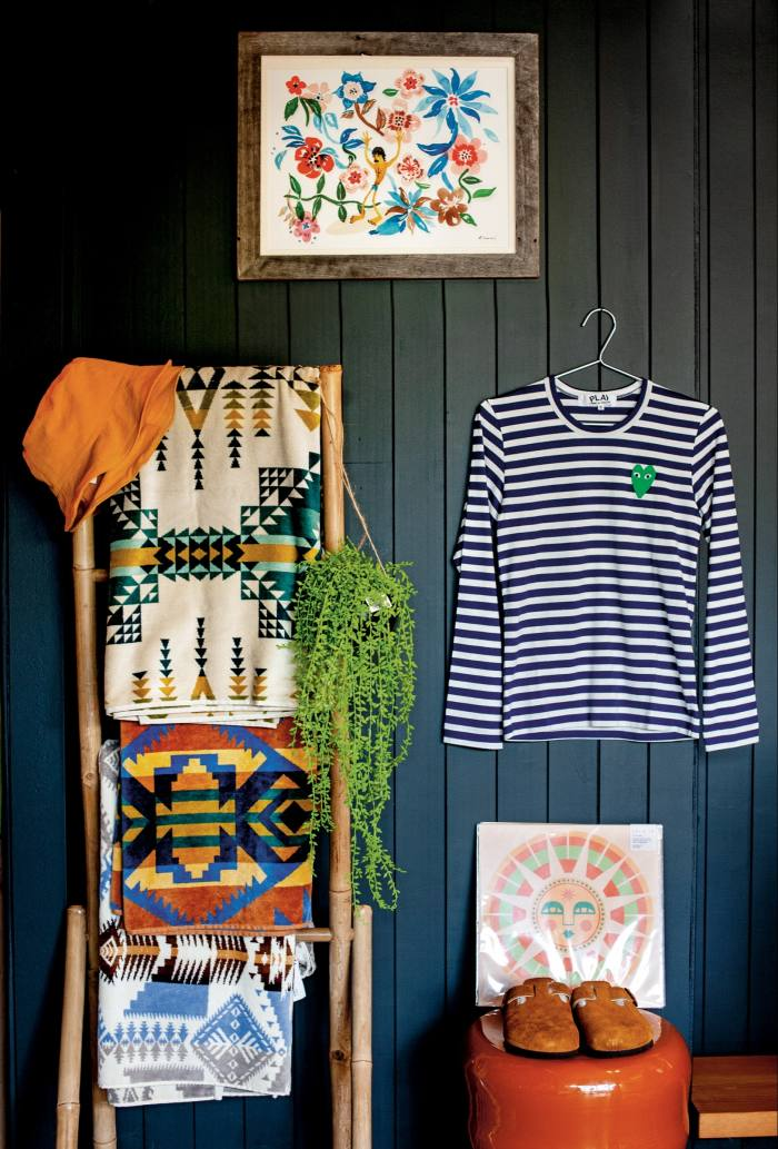 Michelle's latest edit includes a Comme des Garçons Play striped T-shirt, £95,Pendleton towels,£65 each,Birkenstock shearling Boston clogs, £135, and anAloha to Zen framed print (above T-shirt), £150